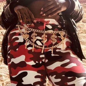 Accessories - Gold Money Fashion Waist Chain Belt W/ tassels
